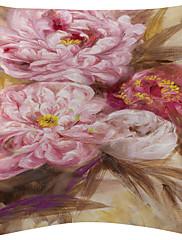 4美しい水彩花柄のベルベットの装飾的な枕カバーのセット