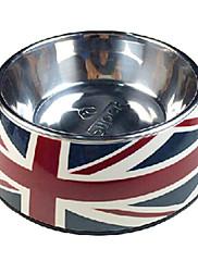 ペットの犬の国旗パターンステンレス製のフードボウル