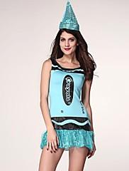 演劇青いスパンコールのついたセクシーなダンサーチュチュドレスツーピーススーツの制服の女性のハロウィーンの衣装