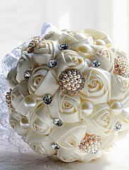 elegante mano de seda decorativa hecha flor color de rosa nupcial de la novia ramos de novia de cristal accessaries decoración del partido (más