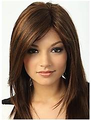 キャップレスミックスカラーサイド強打との長い長さ、高品質の天然ストレートヘア合成かつら