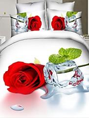 布団カバーセット、高品質な3D寝具セット4本クイーンサイズ3dはフラット装着ベッドシート枕カバー寝具絵画をバラ