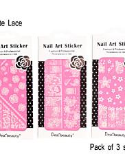 pack 3 různých listů 3d whitelace nehty nálepka nálepky nejen s plným nehtové štítku na 1 list lc70-72