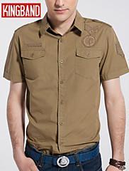 男性用 半袖 シャツ , コットン混 カジュアル/オフィス プレイン