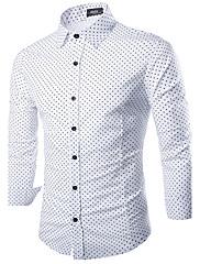 男性用 長袖 シャツ , コットン/ポリエステル カジュアル/オフィス プリント