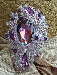 3,74 palce silver-tone fialový drahokamu květina crystal brož přívěsek art deco