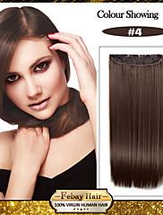 5 klipovi dugo ravna smeđa kosa sintetička Isječak ekstenzija za žene