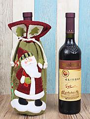 クリスマスディナーテーブルパーティの装飾(1枚)のためのワインの袋にサンタクロース