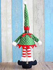 クリスマスディナーテーブルパーティの装飾(1枚)のためのワインボトル布カバーのサンタのエルフ
