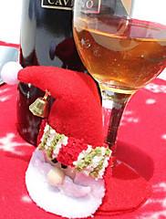 クリスマスディナーテーブルパーティの装飾(1枚)のためのカップ布カバーのサンタベル