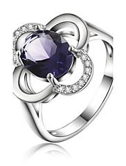 Prsteny s kamenem Křišťál Postříbřené Šperky Svatební Párty Denní Ležérní 1ks