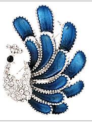 女性 ブローチ ラインストーン 銀メッキ 模造ダイヤモンド 合金 ファッション Elegant 孔雀 ジュエリー 結婚式 パーティー 誕生日 日常 カジュアル