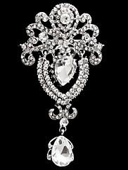 Brože Slitina Sklo imitace Diamond Módní Flower Shape Bílá Šperky Svatební Párty Zvláštní příležitosti Narozeniny