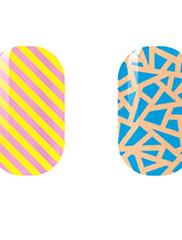 žuta / plava šuplje naljepnice za nokte