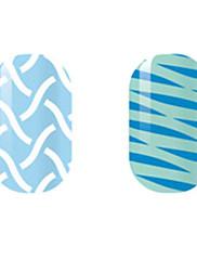 bijela / plava šuplje naljepnice za nokte
