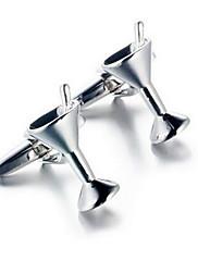 メンズファッショングラス銀合金フレンチシャツカフス(1ペア)