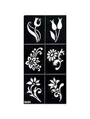 1ks falešný henna airbrush tetování šablony malování dočasné květina tělo paže noha umění tetování nálepka S250