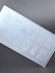 Nová 1 ks nail art stamp lisování image deska plast hřebík šablona manikúra vzorníku nástroje