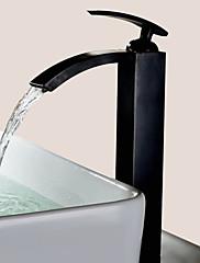 アンティーク調 洗面ボウル 滝状吐水タイプ with  セラミックバルブ シングルハンドルつの穴 for  オイルブロンズ , バスルームのシンクの蛇口