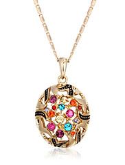 Dámské Náhrdelníky s přívěšky Kubický zirkon Zirkon Pozlacené Round Shape Módní Zlatá Šperky Svatební Párty Denní Ležérní 1ks