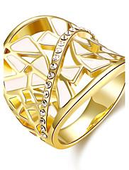 バンドリング ジェムストーン ジルコン ゴールドメッキ 18K 金 楕円形 ファッション Elegant ゴールデン ローズゴールド ジュエリー 結婚式 パーティー 日常 1個