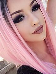 krajky vpředu růžové vlasy paruky syntetické krajky paruky tepelně odolná růžový stín paruky
