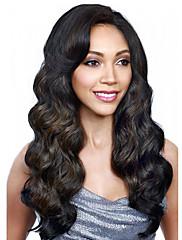 Top prodej přírodní černá dlouhé tělo vlnité syntetické paruky syntetické vlasy ženy paruky