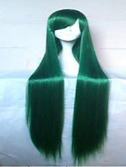 グリーンパープルコスプレウィッグ、カスタマーパーティーかつらをかつら100センチメートル長いストレート人工毛、古典的な女性