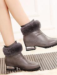 Žene Čizme Zima Udobne cipele PU Aktivnosti u prirodi Kockasta potpetica Crna Crvena Siva