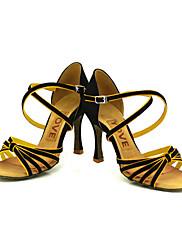 カスタマイズされた女性のサテンの弓ストラップラテン/社交ダンスのパフォーマンスの靴