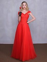 Formální večerní šaty - elegantní a-line zlatíčko na podlaze-délka tylu s krajkou