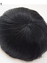 男性のためのトッパーヘアメンズヘアシステムの交換細かいモノかつら男性のための6 * 8ブラジル人毛toupees