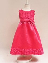 Dívka je Květinový Léto Šaty Směs bavlny Růžová / Červená
