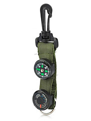 Outdoor Camping Compass  Thermometer with Buckle / Keychain - Army Green  Black