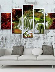 Kunst Print Landskab Parfumeret,Fem Paneler Horisontal Print Vægdekor For Hjem Dekoration