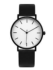 Casal Relógio de Moda Quartzo Impermeável Couro Banda Preta
