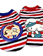 犬 Tシャツ 犬用ウェア カジュアル/普段着 カートゥーン柄 レッド ブルー