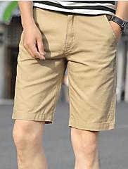 メンズ ビンテージ シンプル ミッドライズ ストレート 非弾性 ショーツ パンツ ソリッド