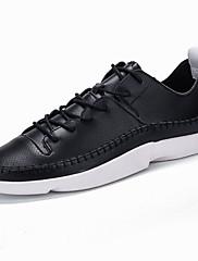 Herrer Sneakers Komfort Lysende såler PU Forår Efterår Afslappet Komfort Lysende såler Snøring Flad hæl Hvid Sort Flad