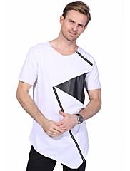 Masculino Camiseta Casual Tamanhos Grandes Moda de Rua Verão,Estampa Colorida Algodão Elastano Decote Redondo Manga Curta Média