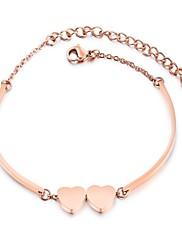Dámské Náramky s přívěšky Kubický zirkon Základní design Módní Rozkošný luxusní šperky Zirkon Titanová ocel Růže pozlacenáCircle Shape