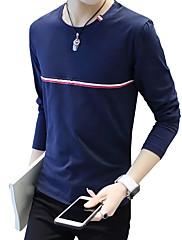 Masculino Camiseta Casual Tamanhos Grandes Simples Todas as Estações,Listrado Algodão Elastano Decote Redondo Manga Longa Média