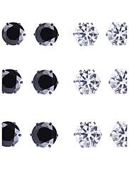 Dame Stangøreringe Kvadratisk Zirconium Yndig Håndlavet luksus smykker Metallisk Boheme Stil Sølv Zirkonium Geometrisk form TilBryllup