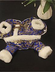 Cachorro Casacos Roupas para Cães Ano Novo Bordado Azul