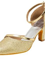 Damer Latin Glimtende Glitter Sandaler Optræden Glimtende glitter Cubanske hæle Guld Sølv 5 - 6,8 cm Kan tilpasses