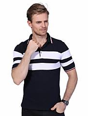 Masculino Polo Casual Tamanhos Grandes Simples Verão,Listrado Algodão Elastano Colarinho de Camisa Manga Curta Média
