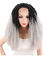 Perucas naturais Sintético Frente de Malha perucas Médio Cinza Cabelo