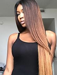 Ombre blonder foran menneskelige hår parykker med baby hår t1b / 4/27 100% ubearbejdet brasiliansk jomfruhår klæbrig blonde perle til sort