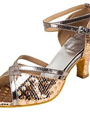 Damer Latin Syntetisk læder Sandaler Optræden Kryds & Tværs Cubanske hæle Guld 5 - 6,8 cm Kan tilpasses