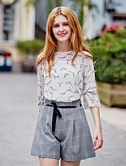 Feminino Simples Cintura Média Micro-Elástica Shorts Calças,Solto Sólido Xadrez